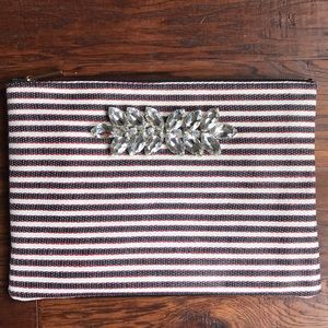 Deuce Lux Striped Pouch Clutch